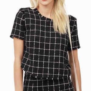 NWT Tobi Tweed Crop Top Black and White Grid XS